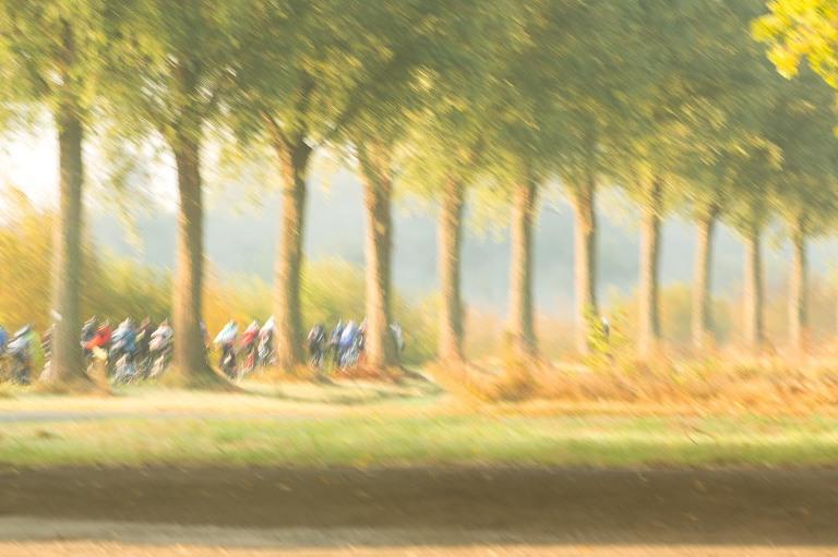 Fine art beeld van fietsers op het jaagpad aan de Schelde in de Vlaamse Ardennen - fine art cyclists at the Scheldt Flemish Ardennes