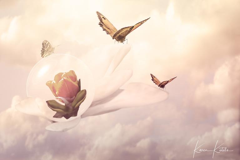 Conceptuele fotografie; Searching for a better world; Vlinders nemen hun kostbaarste bezit (een bloeiende bloem) mee op hun vlucht, op zoek naar een betere wereld - Conceptual art, butterflies flying away with their most precious gift; a blossoming flower. They ar searching for a better world to be in.