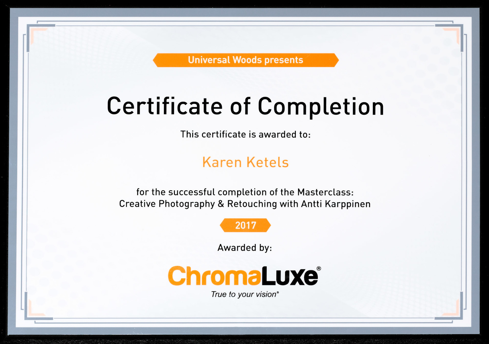 Karen Ketels award Chromaluxe, Masterclass Creative Photography & Retouching with Antti Karppinen