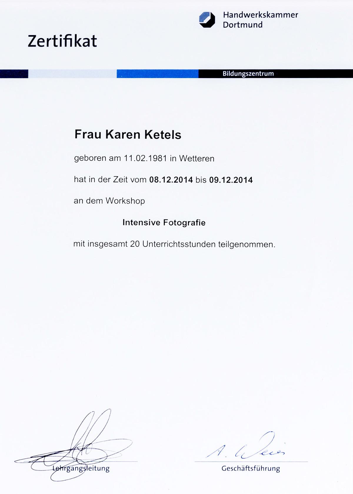 Karen Ketels zertifikat masterclass Andy Hens, Handwerkskammer Dortmund 2014